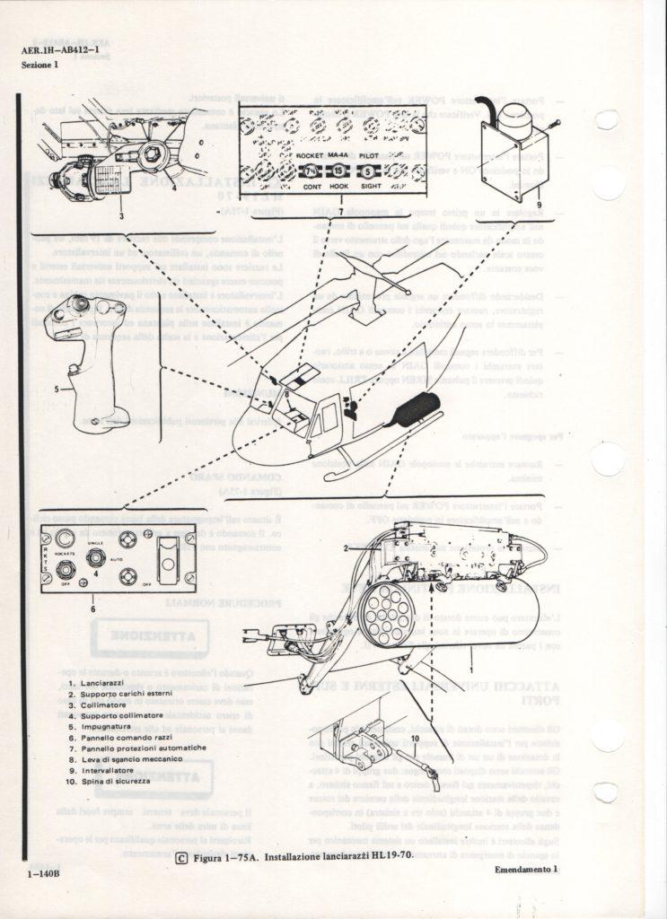 ab 412 installazione lanciarazzi razziere HL19-70