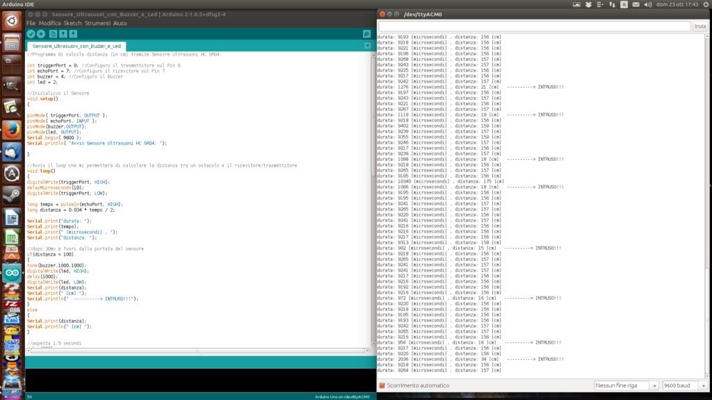 """Schermata di Arduino IDE e relativa console. Ogni volta che sono passato davanti al sensore ha rilevato """"l'intrusione"""" e ha stampato a schermo l'evento."""