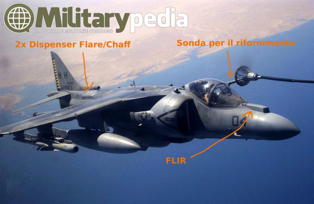 Infografica che evidenzia alcune parti del velivolo. L'Harrier è rifornito in volo da un KC-130T Hercules, vicino Fallujah, Iraq.