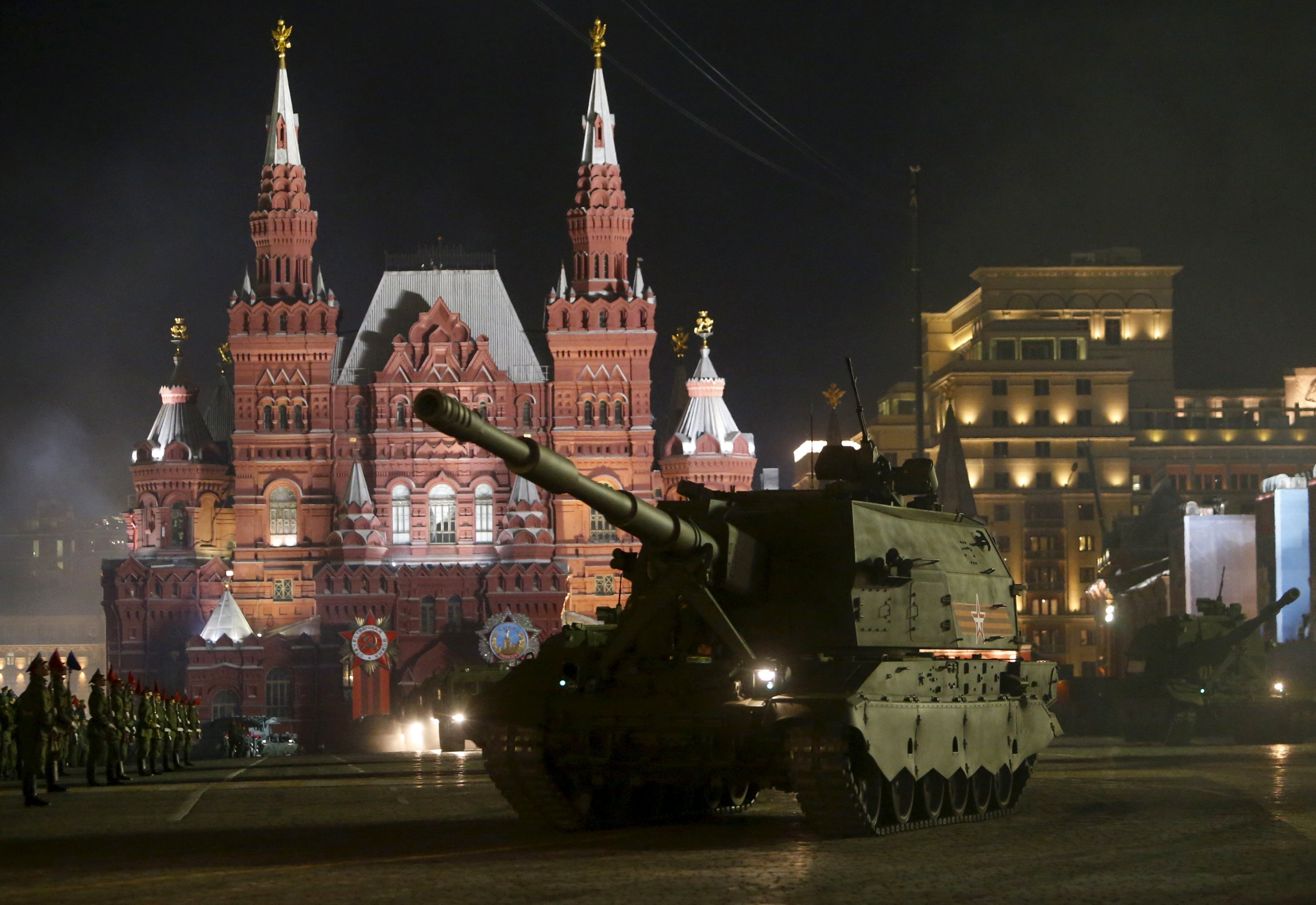victory parade 2s35 spg 4 may 2015 giornata della vittoria russia howitzer self-propelled